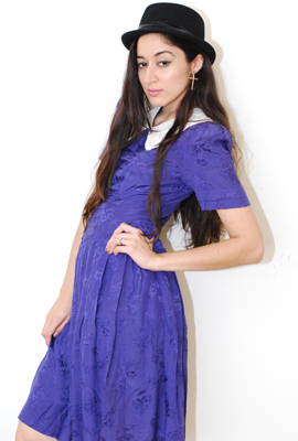 Vtg 90's Purple Brocade Peter Pan Collar Grunge Dress by Kathie Lee $69
