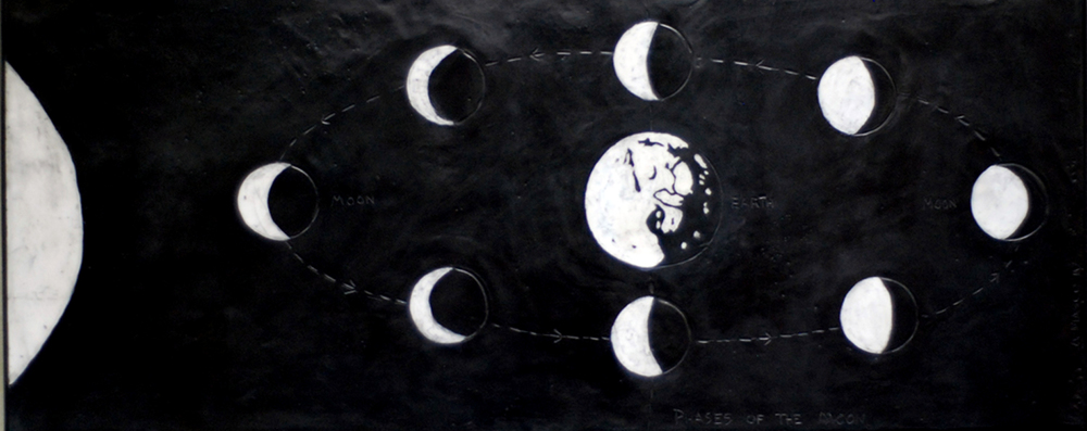 "Phases of the Moon - 2010        50"" x 20""        beeswax and graphite on plaster and wood"