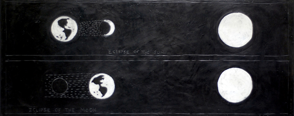 "Eclipse of the Moon - 2010        50"" x 20""        beeswax and graphite on plaster and wood"