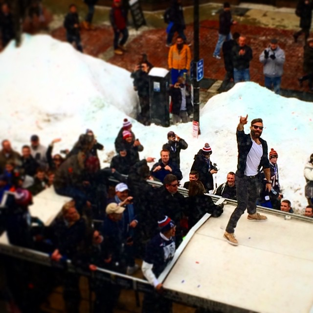 @edelman11 celebrating during the #PatriotsParade from atop his duckboat on Boylston.