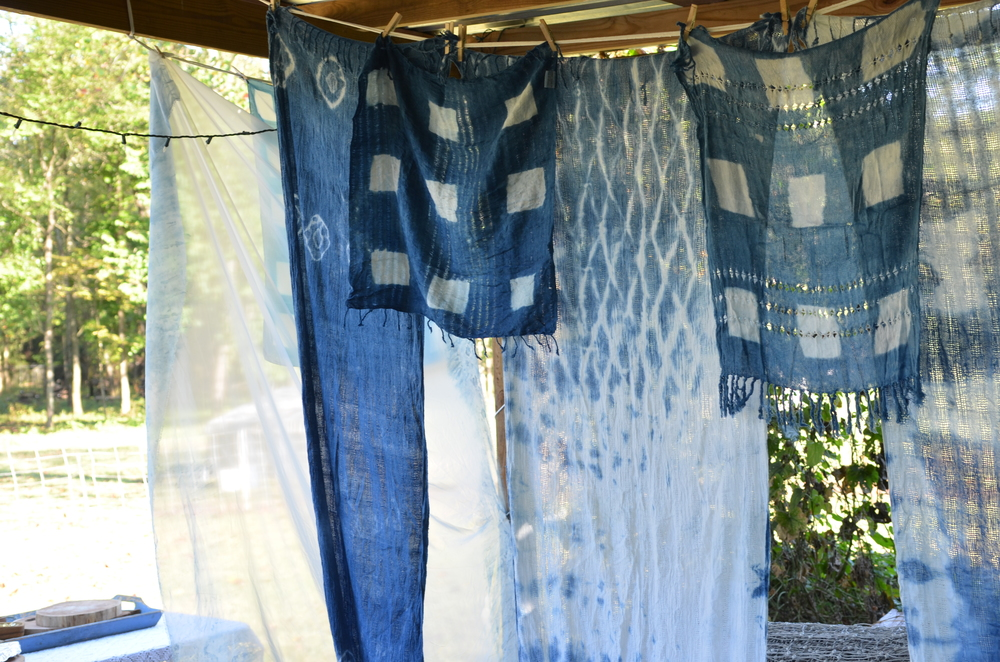 Shibori fabric hanging in the sunlight