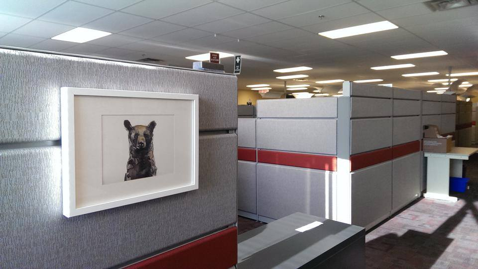 Charnelle's bear, Edwin, in her Edmonton office