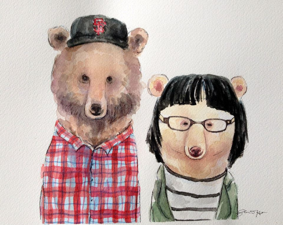 Jason and Clara as bears