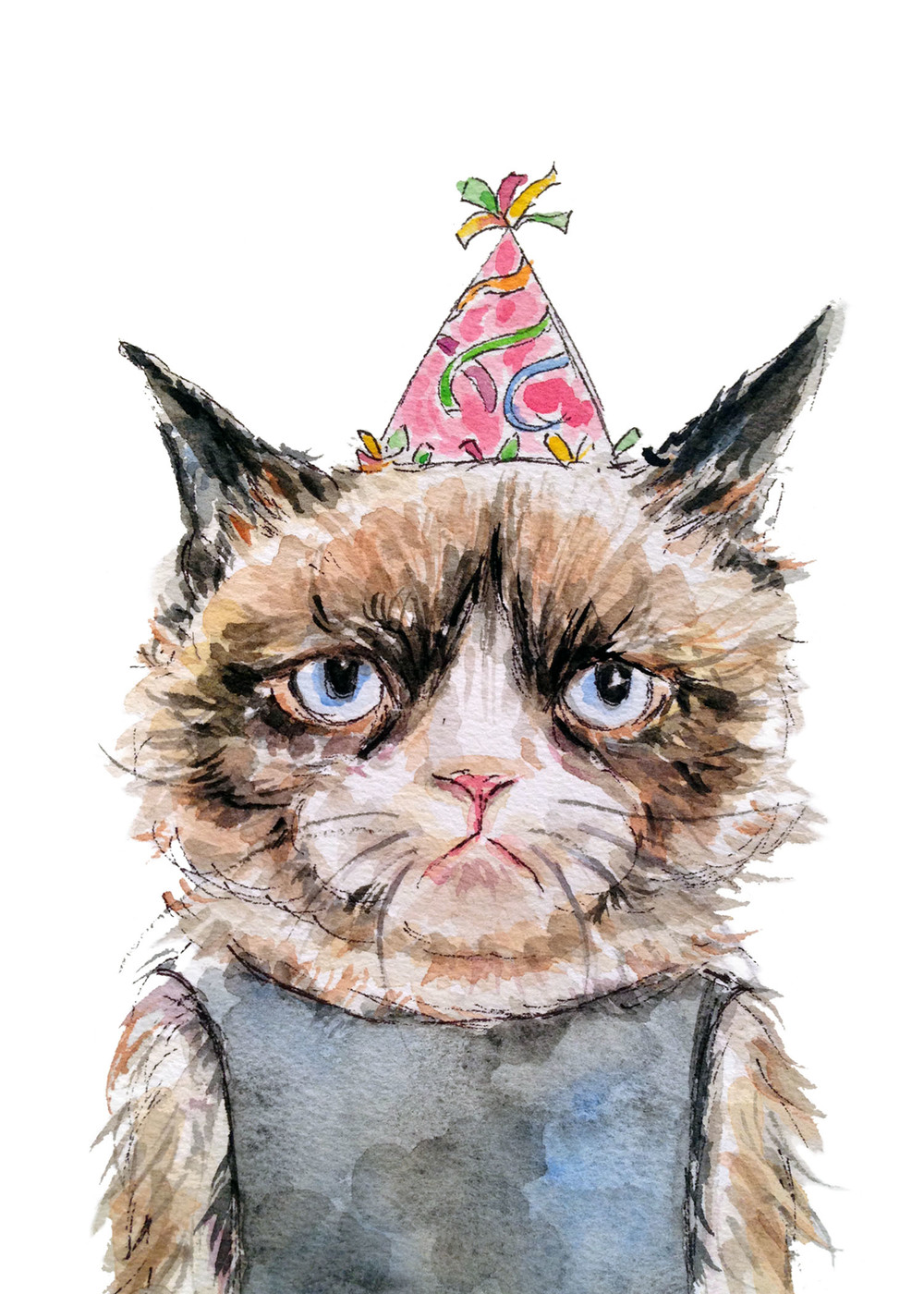 Grumpy Birthday Cat (ORIGINAL SOLD)