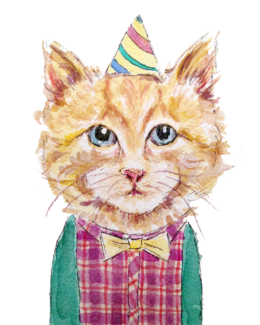 Yellow Birthday Cat