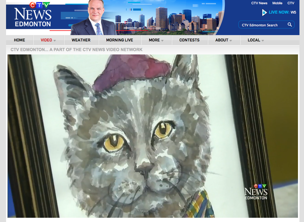 A screen grab of my Jeremy Cat painting featured in a video clip from CTV News Edmonton at the 2nd Annual Edmonton International Cat Festival on May 30, 2015. Watch the whole clip here: http://edmonton.ctvnews.ca/video?clipId=624972