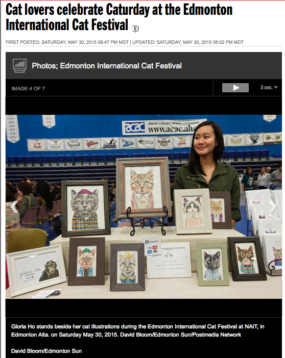 David Bloom's photo of me with my illustrations at the 2nd Annual Edmonton International Cat Festival. Read the Sun's full story and see more of David's photos here: http://www.edmontonsun.com/2015/05/30/cat-lovers-celebrate-caturday-at-the-edmonton-international-cat-festival