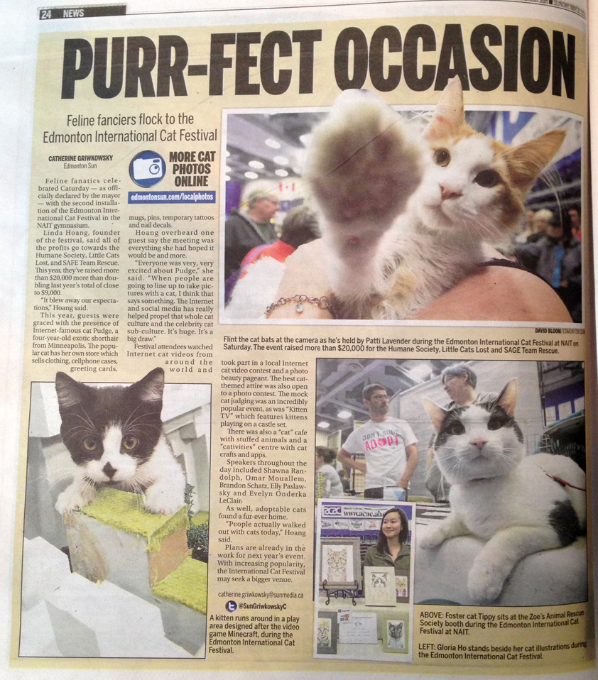 My photo was included in Catherine Griwkowsky's article on the 2nd Annual Edmonton International Cat Festival.