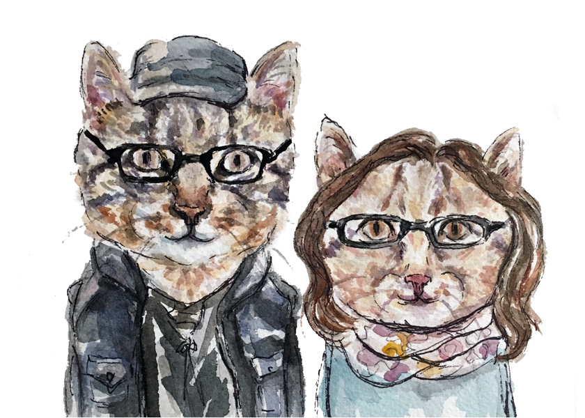 James and Nadia as cats