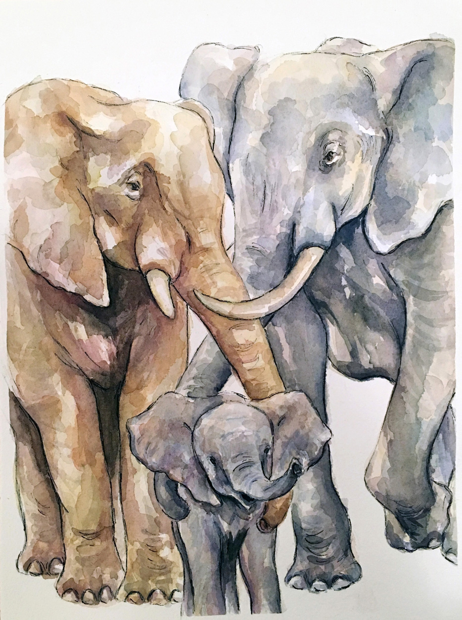 Elephant family (CUSTOM PAINTING)