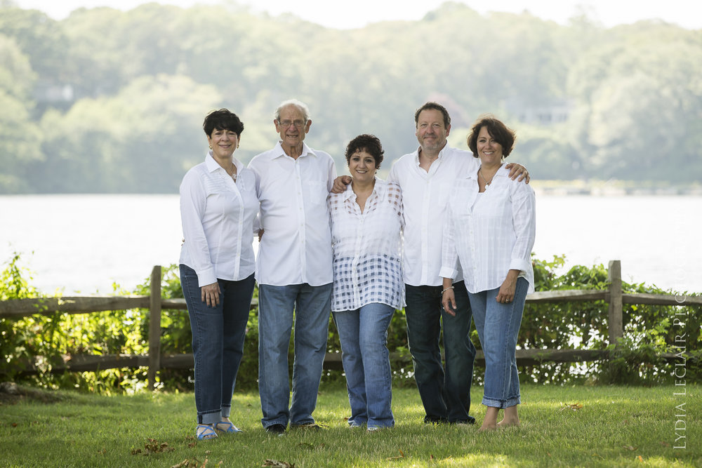 Backyard extended family session with three generations at a private home in Harwich