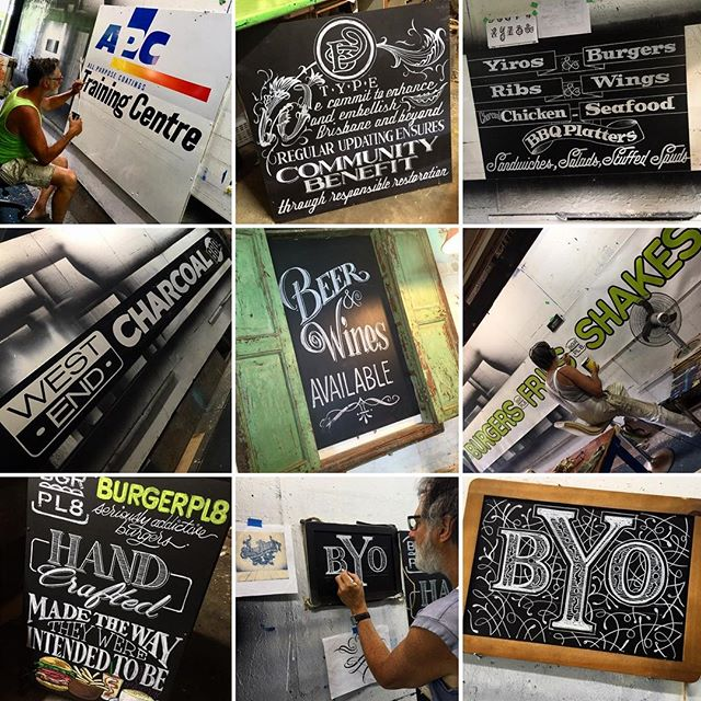 Recent @johnbelltype projects... #signwriting #chalkboards #propersignwriting #brushskills #chalkart #johnbelltype #johnbelltypedotcom