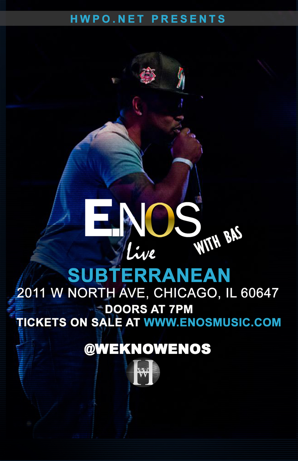 Catch E.Nos live in Chicago as he supports Bas on  his Last Winter Tour.  Location: Subterranean - 2011 W North Ave, Chicago, IL 60647  Doors open 7pm   Tickets