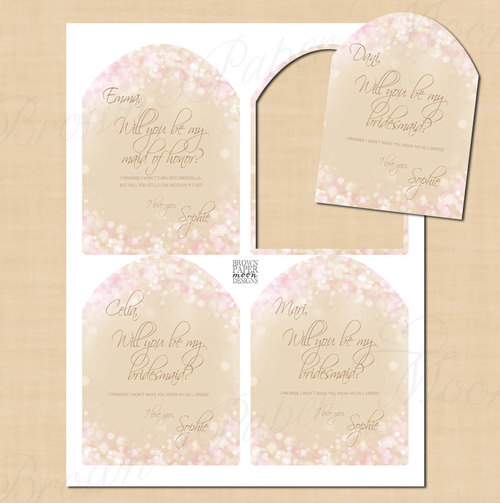 pink and gold shimmer text editable will you be my bridesmaid wine