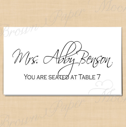 Classic White Editable Place Card Tents Fits Avery 5302 Template
