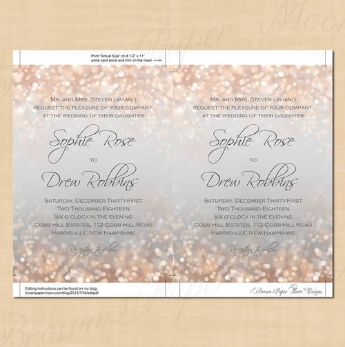 gray and blush shimmer text editable wedding invitation and rsvp package printable instant download - Wedding Invitations And Rsvp