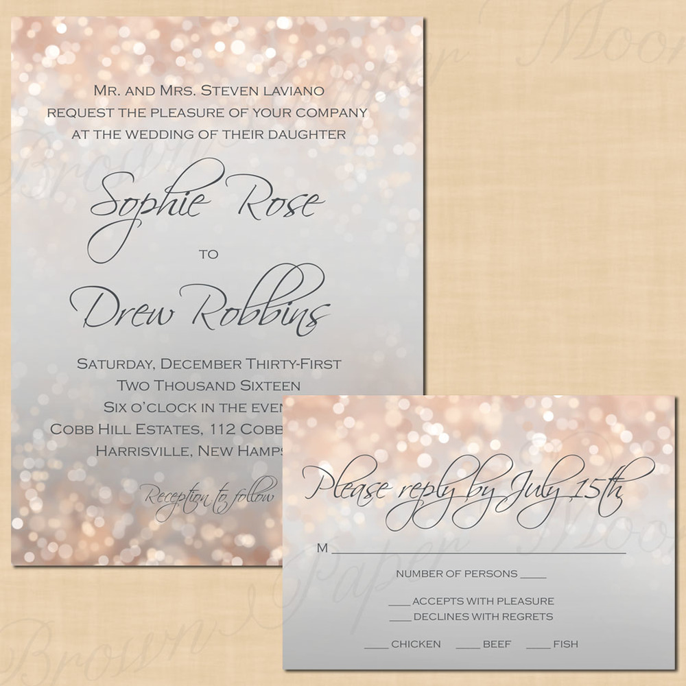 Gray and Blush Shimmer TextEditable Wedding Invitation and RSVP