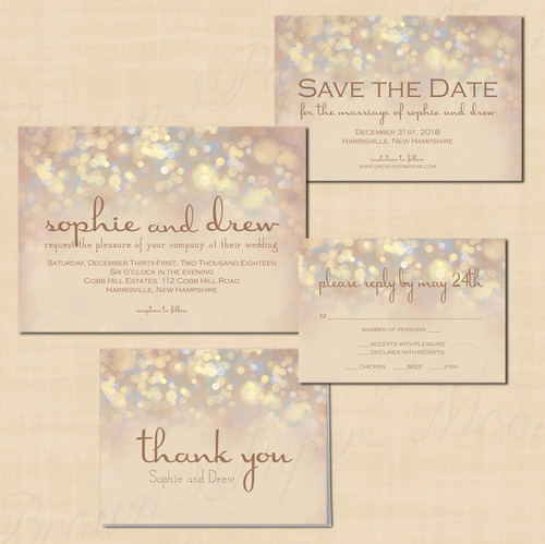 French Champagne Sparkles TextEditable Save the Date Wedding – Wedding Save the Date and Invitation Packages