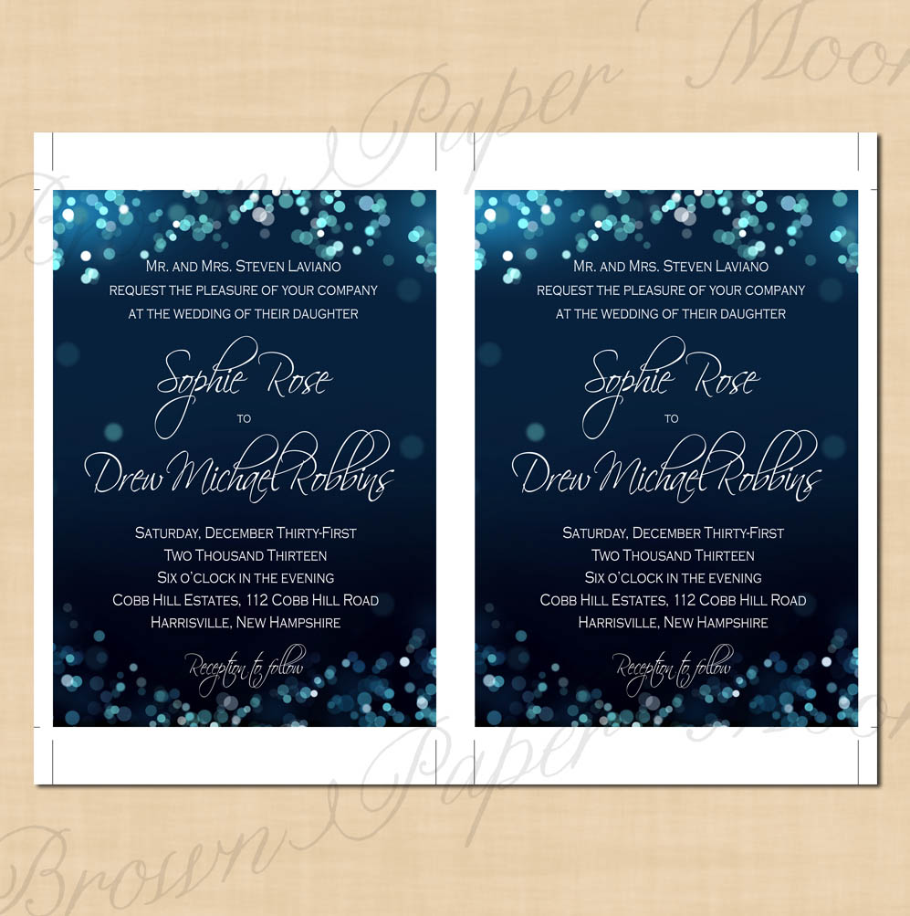 Midnight Blue Night Sky Text-Editable Wedding Invitations: 5 x 7 ...