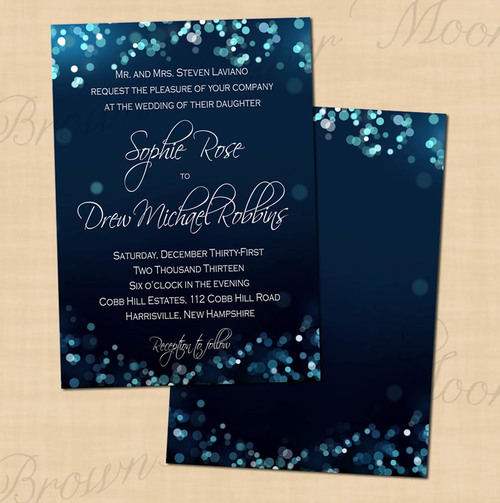 Midnight Blue Night Sky Text Editable Wedding Invitations 5 X 7