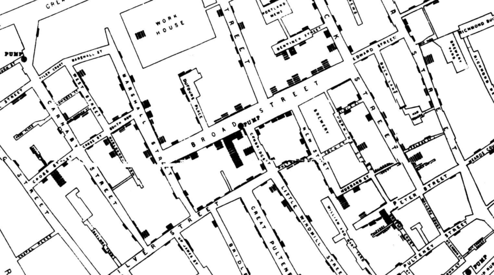 A crop of the original map by John Snow showing the clusters of cholera cases in the London epidemic of 1854, drawn and lithographed by Chalres Cheffins.