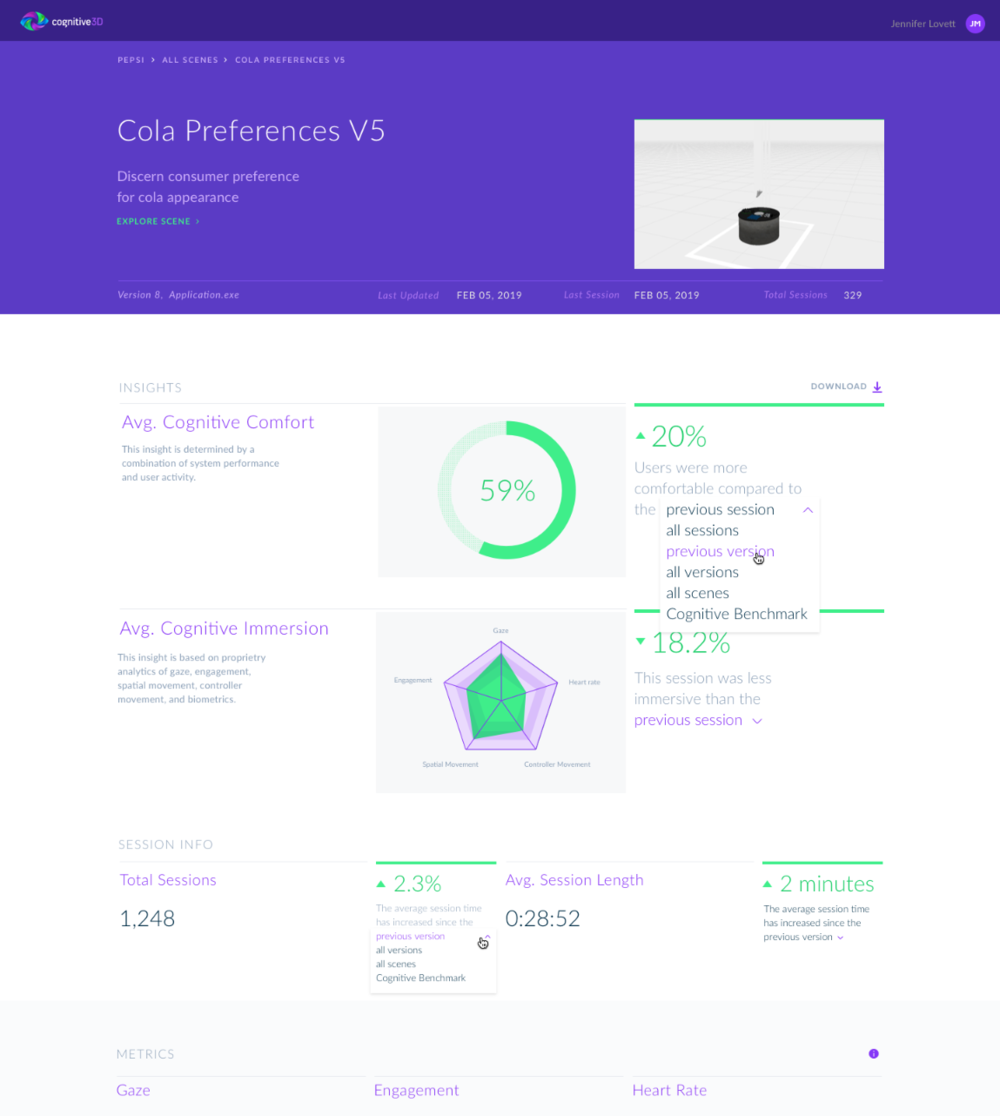 New Cognitive 3D dashboard.