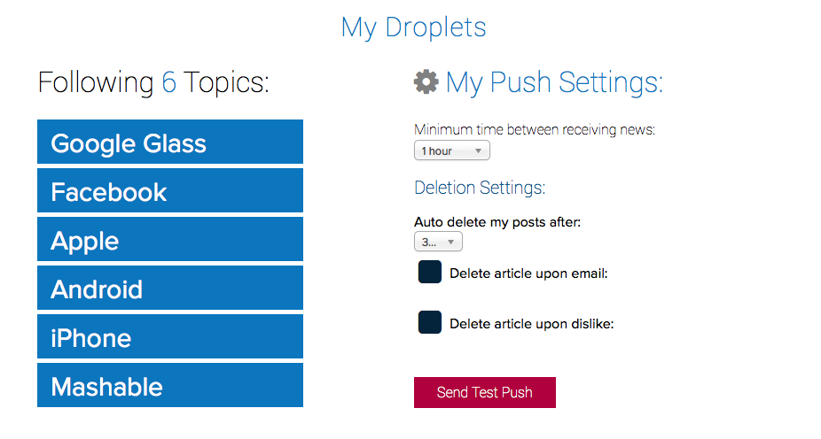 The settings panel was created to allow the user more control of notification frequency and topic organization.