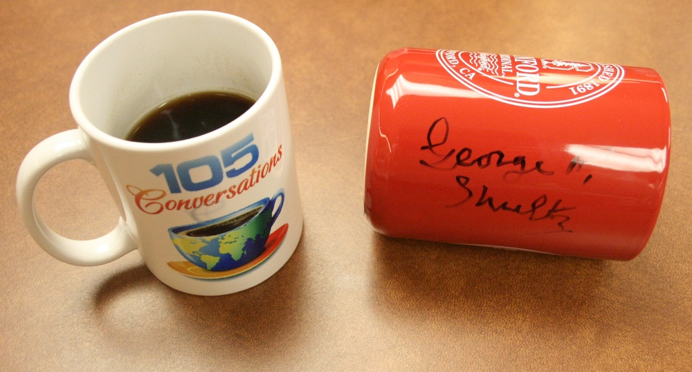George P. Shultz, former United States Secretary of State and Secretary of the Treasury, signed this coffee mug after our interview, which has since become a signature of 105 Conversations.