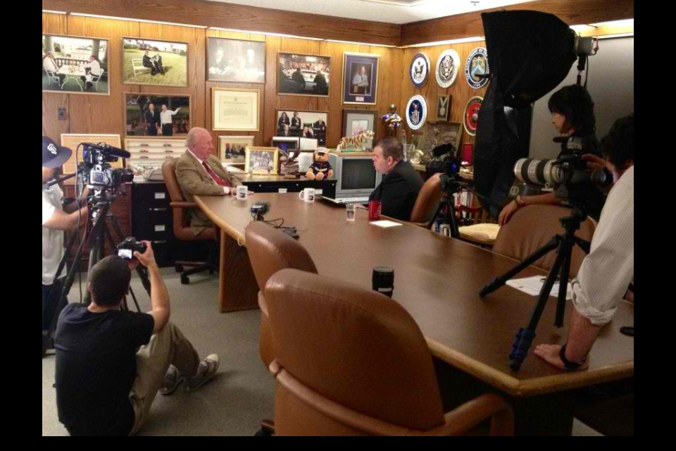 This is a behind the scenes photo from the interview with George P. Shultz, inside the Hoover Institution at Stanford University.