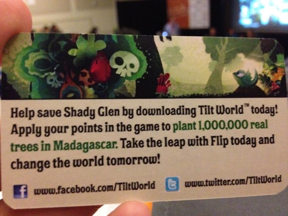 The back of the Tilt World download card.