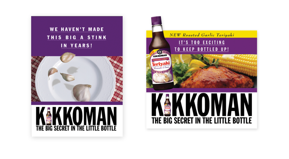 Kikkoman new product promotional materials included point of sale, special couponing, and merchandising brochure with die-cut pop ups.