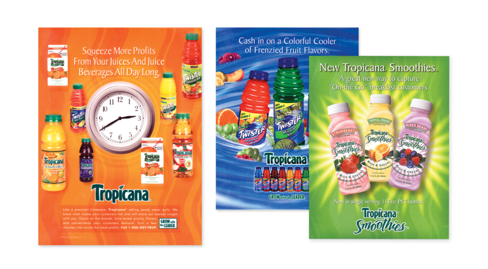 Tropicana B2B advertising and marketing materials both new and existing products