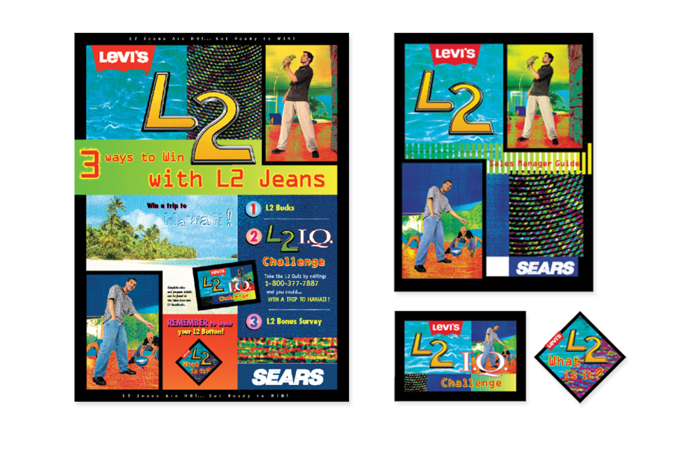 Levi's L2 Jeans promotion with Sears- including poster, brochure, direct mail, in-store POS.
