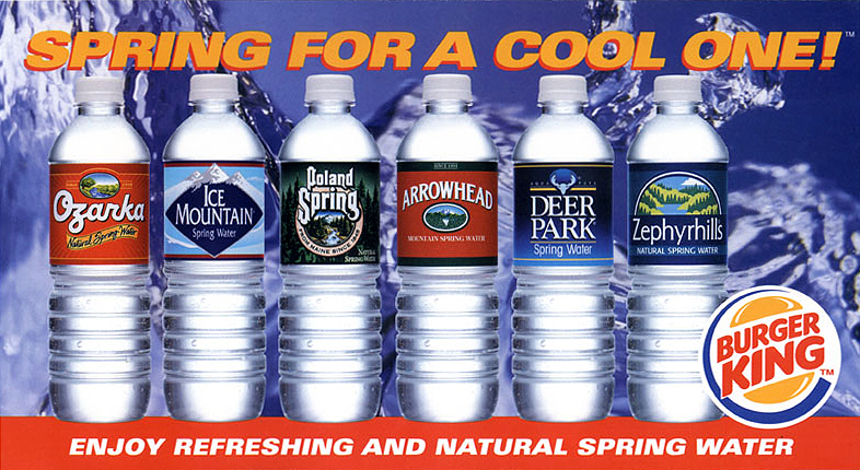 Nestlé Waters promotion for Burger King included various POS, both inside and outside at store locations.