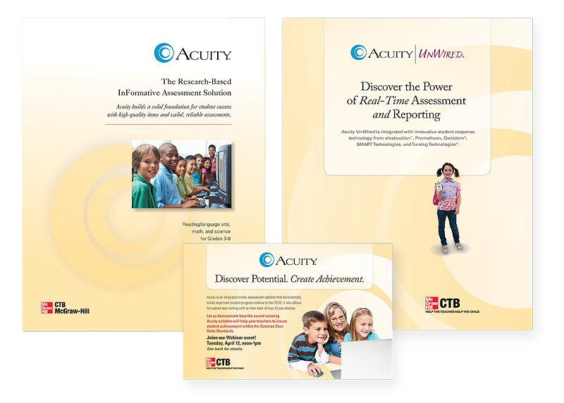 Acuity marketing materials including product-specific brochures and direct mail.