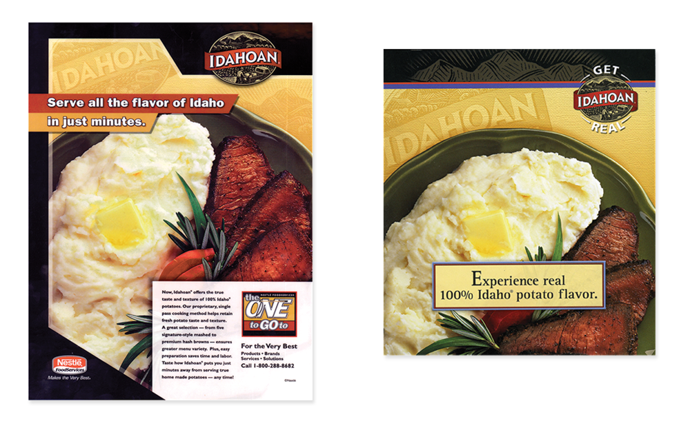 Idahoan Potatoes- trade ad, recipe booklet and direct mail for promotional campaign