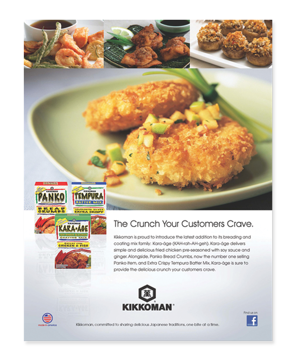 Kikkoman trade Ad for Panko Bread Crumbs product family
