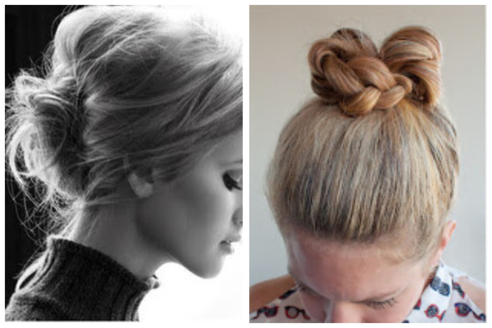 french roll and braided bun