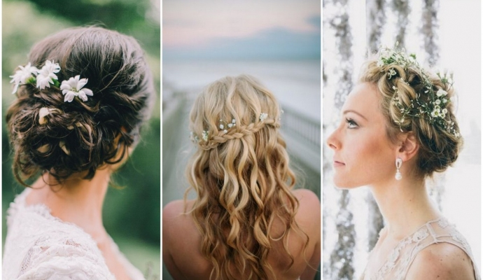 One of my top trends for this year - small flowers like Babies Breath in a Bride's hair.