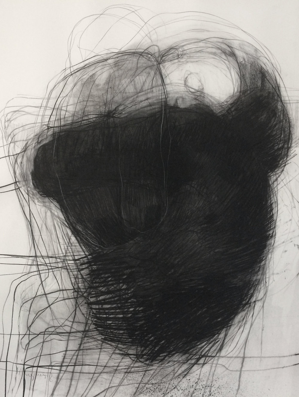 Charcoal and pastel, 2018, 114 x 84 cm