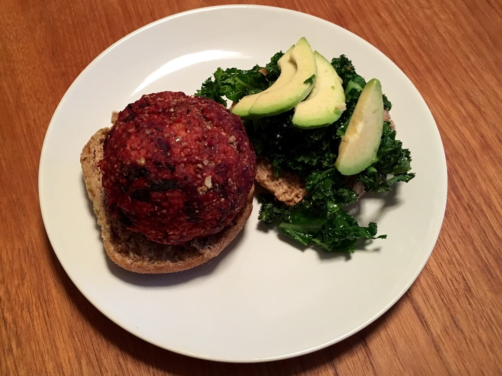 Served (w) a little kale & avocado salad on a wholemeal bun.