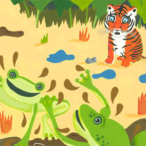 CBeebies / Story Train Illustrations for Driver Dan's Story Train about a tiger cub and his misgivings about mud.