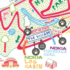 Nokia Live drawing for a TV commercial, plus illustrated maps for billboards and booklets.