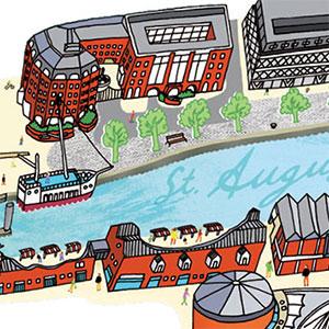 Harbourside Starts Here / Bristol City Council Map illustration and flyer design.