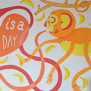 Today Is A Good Day / Life A large meeting room mural illustrating a positive phrase.