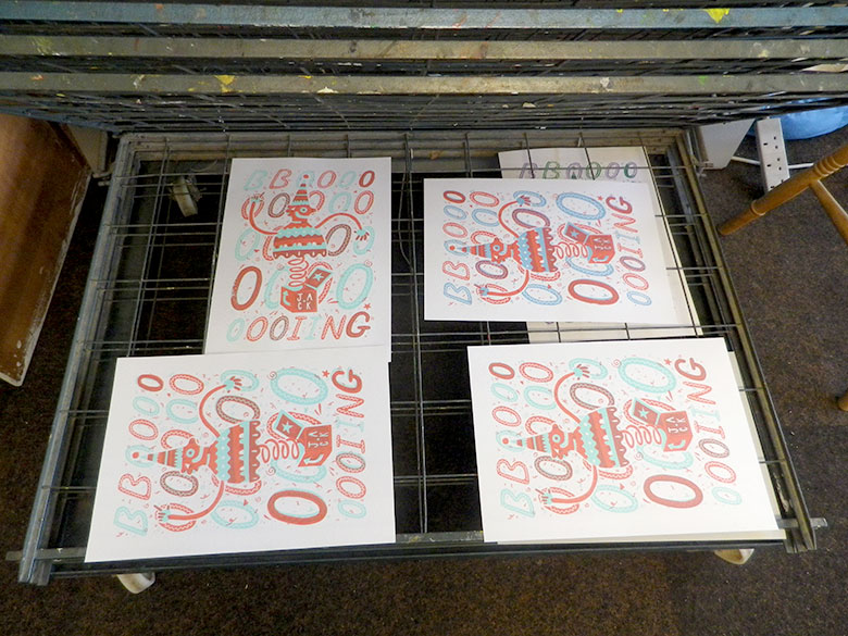 Resulting prints on the rack