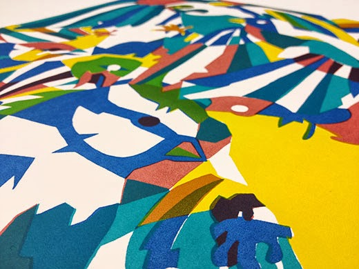 Flock (detail), 4 colour screen-print