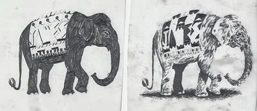 Two of the layers, drawn in 4B pencil of 'James the Elephant'