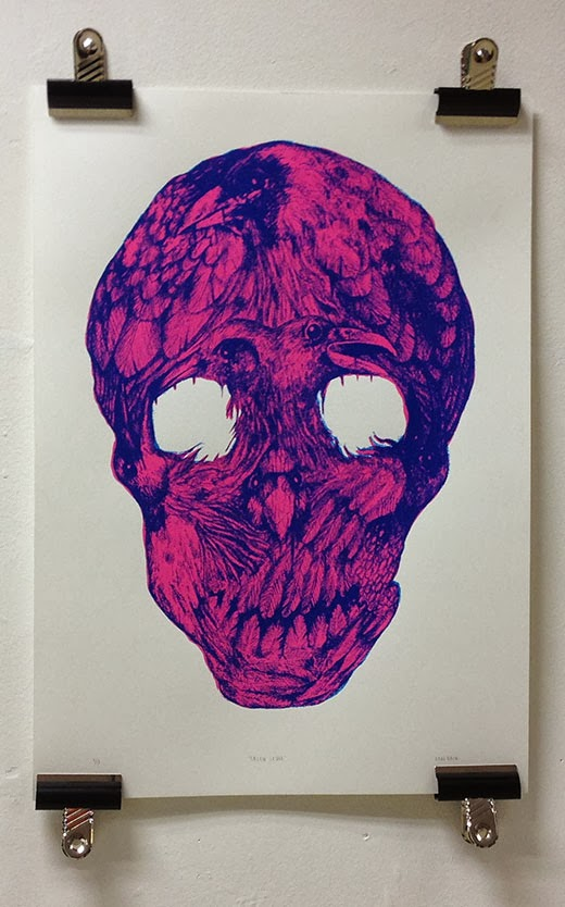 Raven Skull, 2-colour A2 screen-print