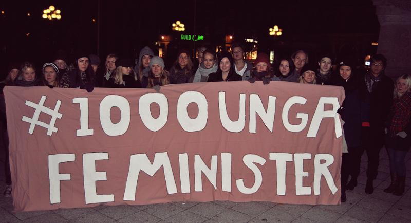 Under kampanjen #1000UngaFeminister tar Kampen mot Patriarkatet!, 13-10-01. Foto: Ellinor Ljunglöf